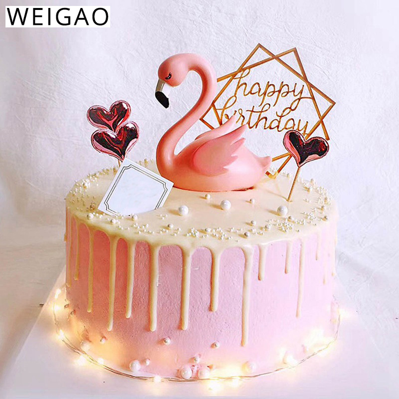 Home Cake Decorating: WEIGAO Pink Flamingo Cake Topper Decor For Birthday Party