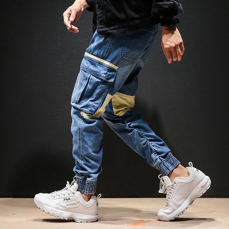 Casual Harem Trousers Jogger Sweatpants Pantalon Homme Men High Street Fashion Hip Hop Cargo Pant Male Multi-pocket Splice(China)