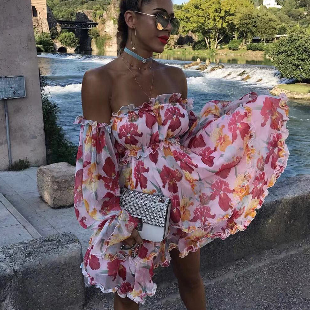 Tosheiny 2020 Women Off Shoulder Slash Neck Backless Dresses Female Elegant Flower Print Backless Mini Dress TH18851