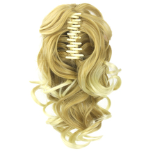Soowee Short Curly High Temperature Fiber Synthetic Hair Blonde Gray Clip In Hair Extension Little Pony Tail Claw Ponytail