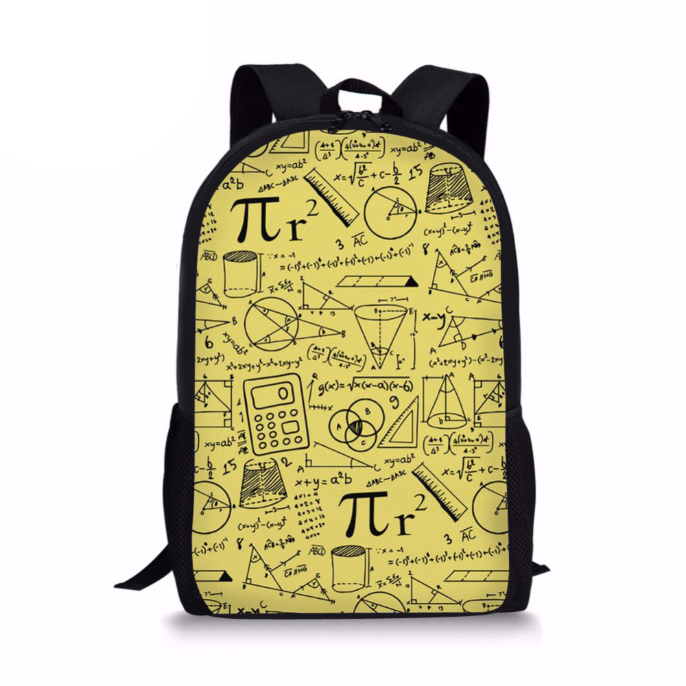 Customized 2019 Newest Happy Satchels Math Pattern Fashion School Bags for Childrens Backpacks for Teen Girls Book Sac Mochila