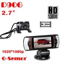 Greatest Automobile DVR twin lens Cameras F90G Automobile DVR Recorder Full HD 1080P DVR Digital camera +2.7″ LED Show+ HD 720P + H.264 DVR Digital camera