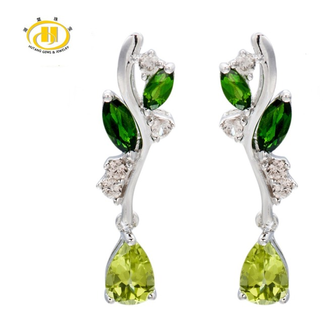 Hutang Nautral Peridot, Chrome Diopside Solid 925 Sterling Silver Leaf Dangle Earrings Fine Jewelry