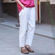 OriGoods винтажные летние женские брюки из хлопка и льна с эластичным поясом, Капри, новинка, женские шаровары, оригинальные брюки C216
