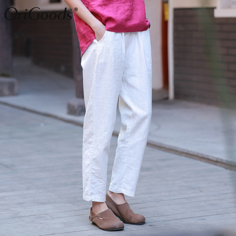OriGoods Vintage Summer Pants Women Cotton Linen Elastic Waist Pants Capris 2019 New Harem Trousers Women Original Pants C216