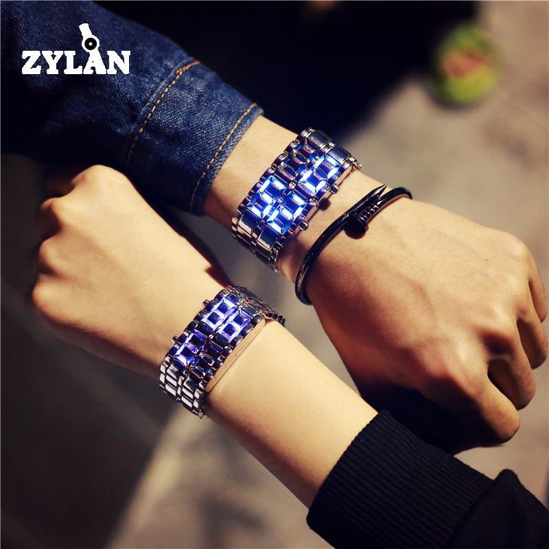 лучшая цена ZYLAN Hot Sale Cool Silver Full Stainless Steel LED Lava Blue Red Light Digital Wristwatch Watch for Men Women Unisex Couple