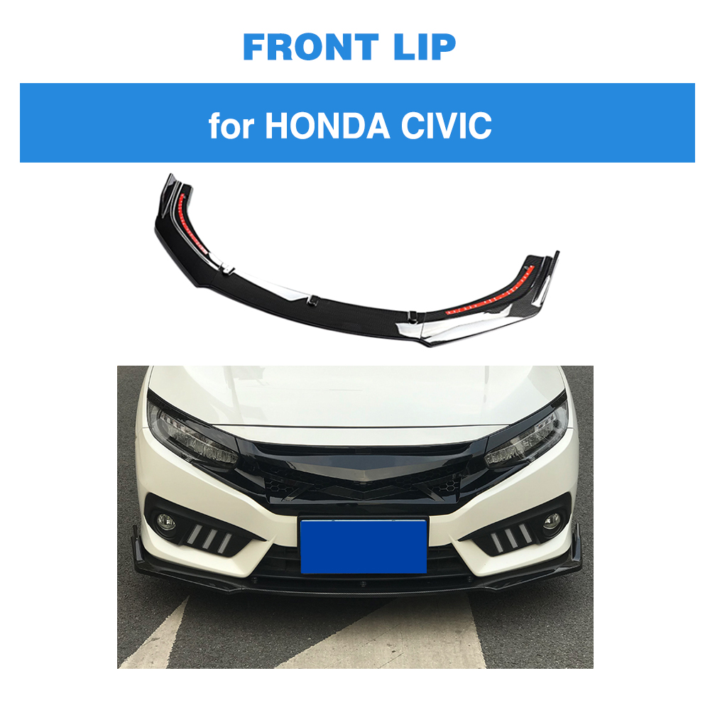 Car Styling Front Lip Spoiler Bumper Chin Apron for Honda For Civic 10th 2016 - 2018 PP Carbon Fiber Look 3PCS/SETCar Styling Front Lip Spoiler Bumper Chin Apron for Honda For Civic 10th 2016 - 2018 PP Carbon Fiber Look 3PCS/SET
