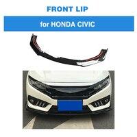 Car Styling Front Lip Spoiler Bumper Chin Apron for Honda For Civic 10th 2016 2018 PP Carbon Fiber Look 3PCS/SET