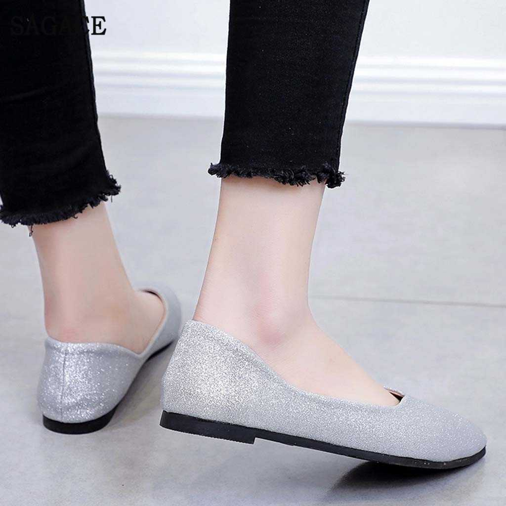 Luxe Womens Bling Platte Schoenen Ondiepe Wilde Commuter Schoenen Flats Mode Wees Teen Ballerina Ballet Platte Slip Op Schoenen