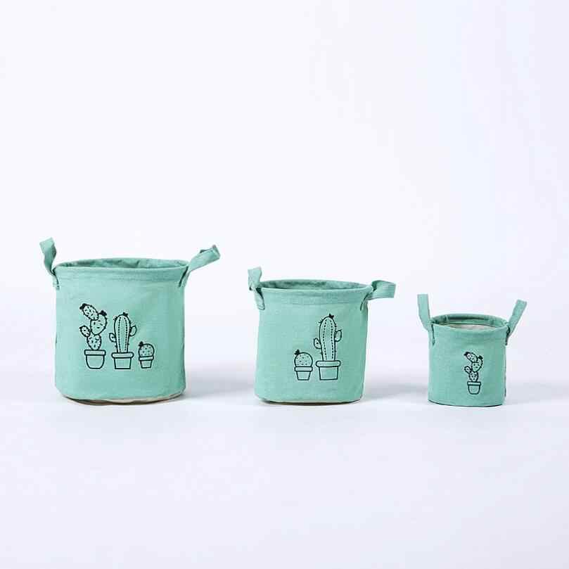 3 pçs/set verde Dobrável Caixas De Armazenamento Cesta cactus Caso Cosméticos Caixa de Armazenamento de Mesa de Linho de Algodão Decoração de Casa Organizador AU914