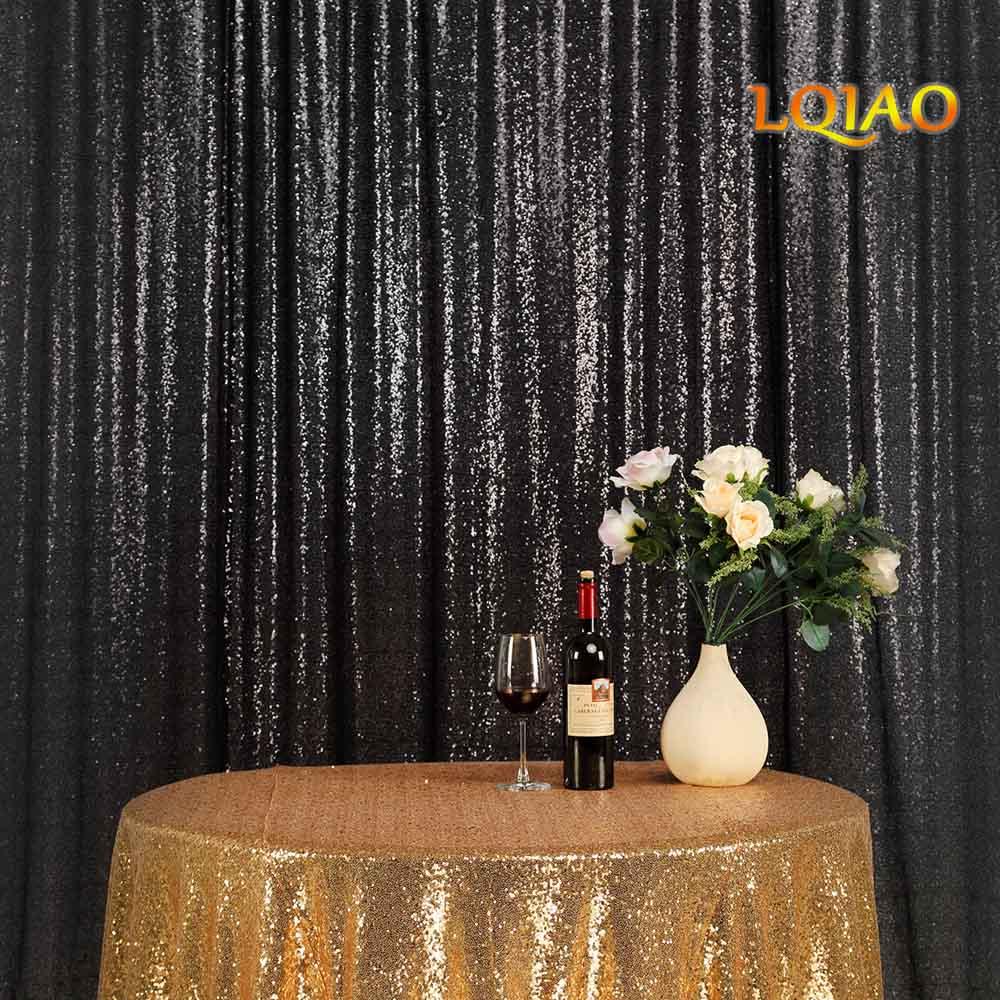 8FT * 8FT noir miroitant Sequin tissu toile de fond Sequin rideaux mariage Photo stand photographie décors pour la décoration de fête