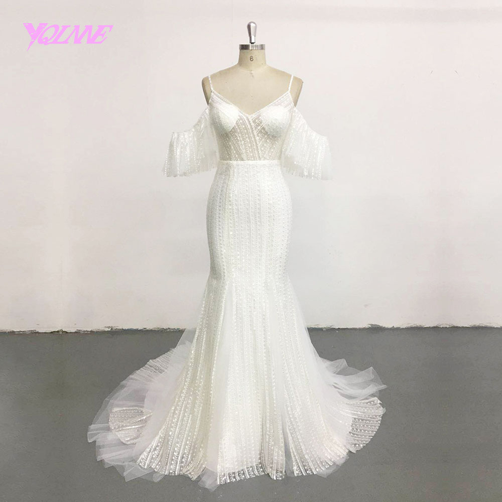 YQLNNE Ivory Illusion Wedding Dress 2018 Off Shoulder Lace Tulle Zipper Back Bridal Dresses