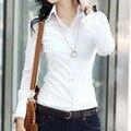 Novas mulheres Da Moda blusa blusa blusa ol da longo-luva de slim mulheres blusa branca camisa branca feminina primavera e no outono