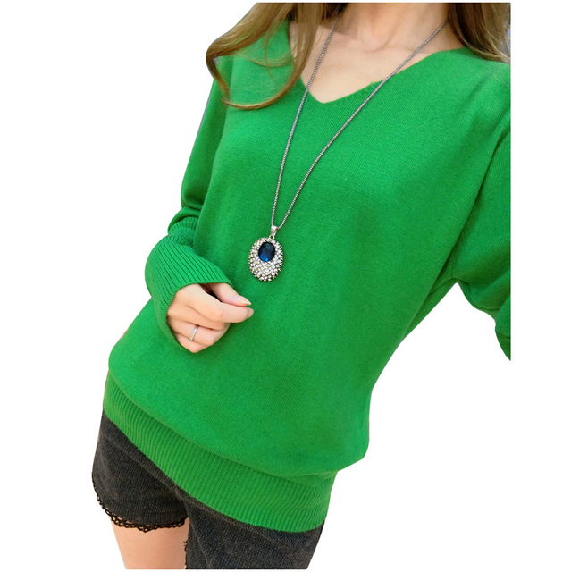 Women Sexy V-Neck Sweater Loose Wool Sweater Batwing Sleeve Pullover