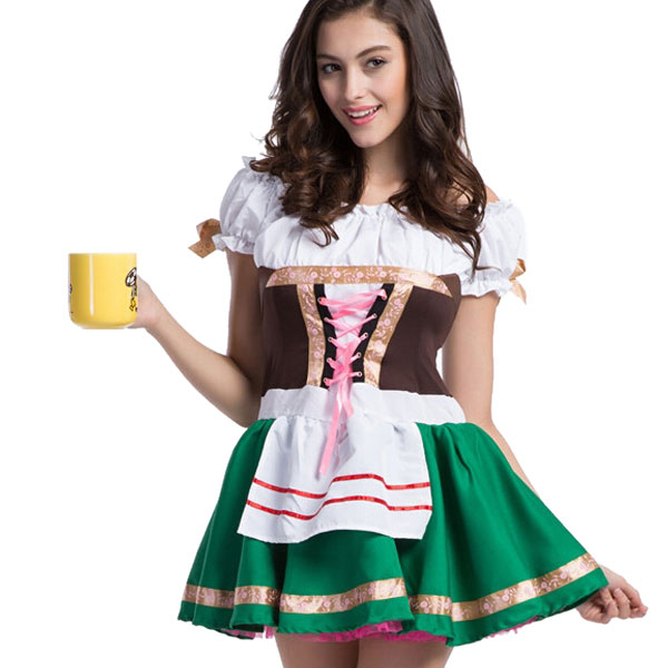 Free Shipping High Quality Beer Festival Cute Beer Girl Hot Costumes