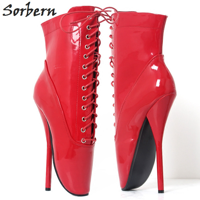 Sorbern 18CM Ballet Thin Heel Boots Mid-Calf Women Boots Plus Size Lace Up Unisex Dance Shoes Real Image Custom Made Color double buckle cross straps mid calf boots