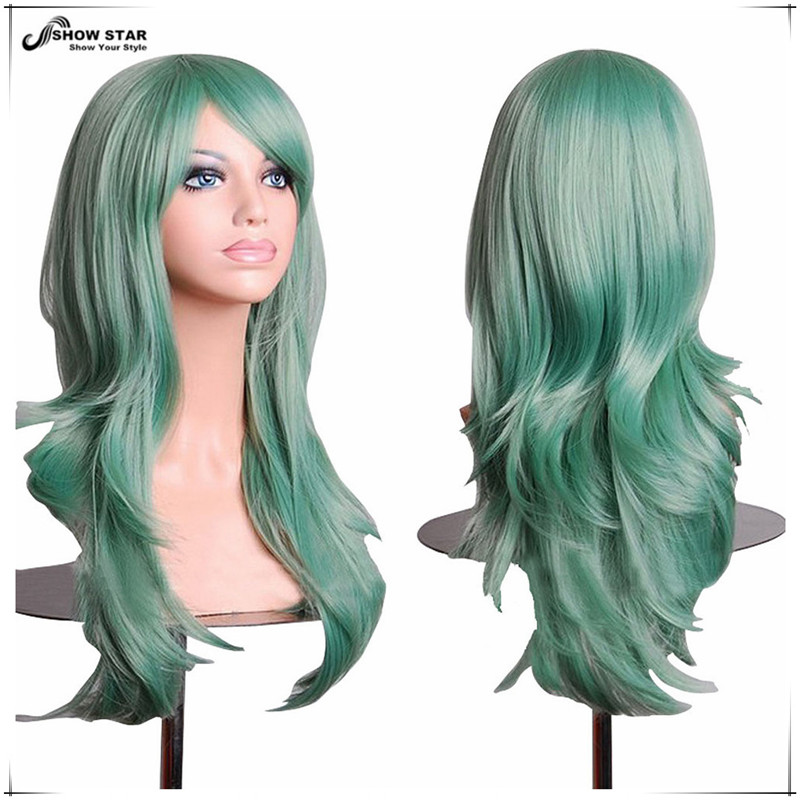 SHOWSTAR Harajuku Mint Green wig Cosplay sexy Long Wavy ...