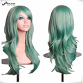 SHOWSTAR Harajuku Mint Green wig Cosplay sexy Long Wavy Curly Wigs Anime Costume Wig for Women pelucas sinteticas longa Hair