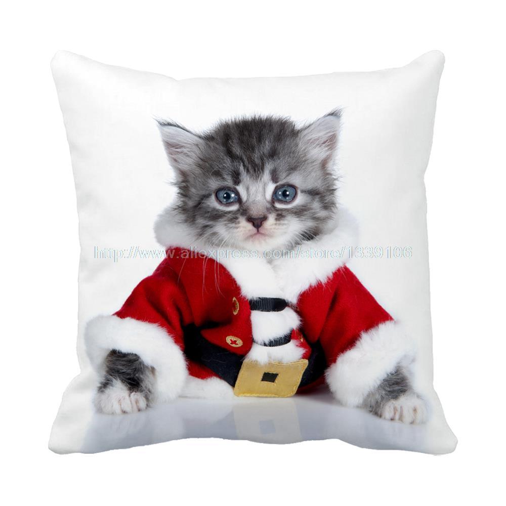 Happy New Year christmas jubilant cute cat printed decorative pillow sofa bed almofadas custom white luxury cushion home decor