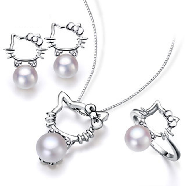 Real natural Pearl necklace Hello Kitty accessories pendant ring and earrings women's wedding party jewelry