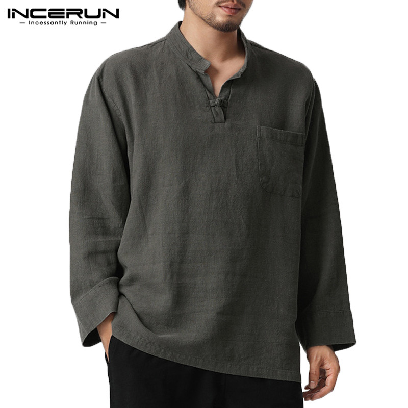 INCERUN 2018 Pullovers Mens T Shirts Mens Shirts V Neck Button Chest Pockets Plain 5XL Camisas Hombre Masculina Chemise Tshirts