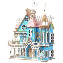 القطع بالليزر DIY بها بنفسك تجميعها بناء نموذج الخيال فيلا ثلاثية الأبعاد بيت دمية خشبية الأثاث للأطفال الفتيات هدايا عيد