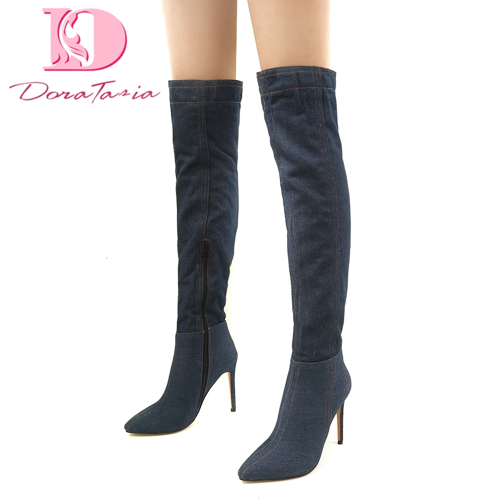 DoraTasia Brand design large size 32-46 denim winter over-the-knee high boots woman Shoes Women high Heels women boots femaleDoraTasia Brand design large size 32-46 denim winter over-the-knee high boots woman Shoes Women high Heels women boots female