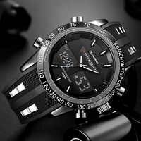 Роскошные брендовые часы, мужские спортивные часы, водонепроницаемый светодиодный цифровой кварцевые мужские военные наручные часы, мужск...