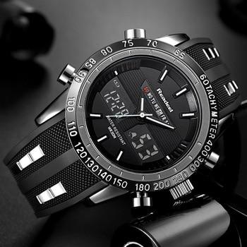 Роскошные мужские спортивные часы водонепроницаемые светодиодные цифровые кварцевые мужские военные наручные часы Мужские часы 2017