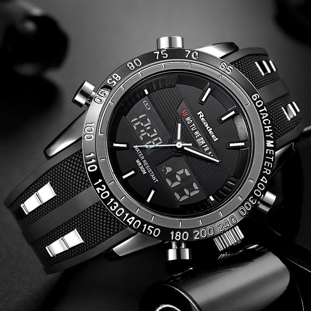 Элитный бренд Часы Для мужчин Спортивные часы Водонепроницаемый светодиодный цифровой кварцевые Для мужчин Военная Униформа наручные час...