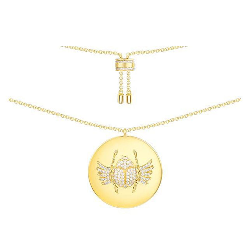 925 Sterling Silver Yellow Gold Color Scarab Coin Pendant Necklace Inlaid Cubic Zirconia CZ Choker Egypt
