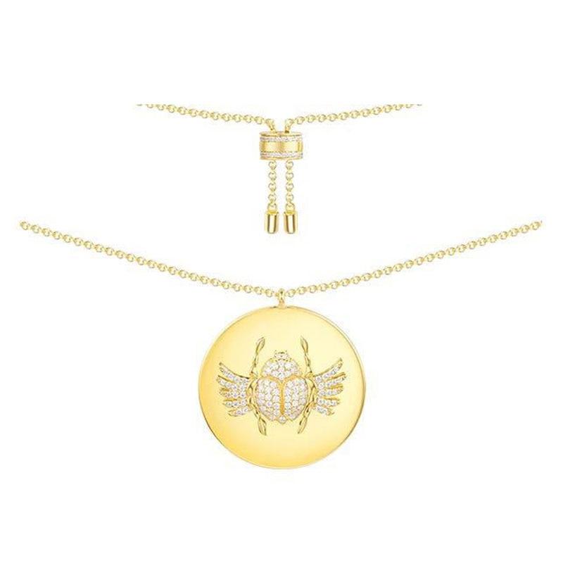 925เงินสเตอร์ลิงเหลืองสีทองแมลงปีกแข็งเหรียญจี้สร้อยคอฝังCubic Z Irconia CZเค้นคออียิปต์โมนาโกผู้หญิงเครื่องประดับ-ใน สร้อยคอพร้อมจี้ จาก อัญมณีและเครื่องประดับ บน   1