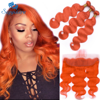Sapphire Malaysian Body wave Human Hair 3 Bundles With Lace Frontal Closure 3 Human Hair Bundles With 13*4 Lace Frontal Deals