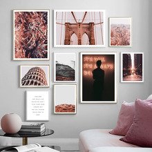 Brooklyn Bridge Girl City Dusk Landscape Wall Art Canvas Painting Nordic Posters And Prints Pictures For Living Room Decor