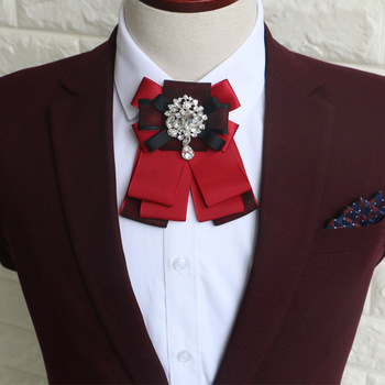 Fashion New High-end British Bow Tie Men's Dress Collar Flower Groom Groomsman Red Collar Flower Bow Korean Bow Tie random flamingos bow tie back circle dress