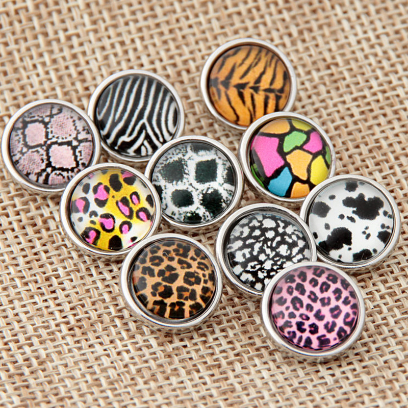 Mixed Wholesale Small Size Glass 12mm Leopard Snap Buttons for DIY Charm Bracelet Necklace Jewelry High Quality Choker Button image