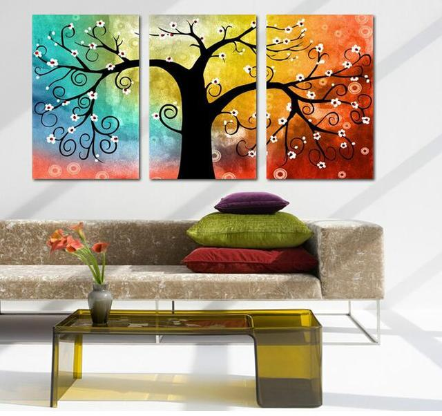 Abstract multi still life 3 panel wall art tree picture oil paintings for living room canvas