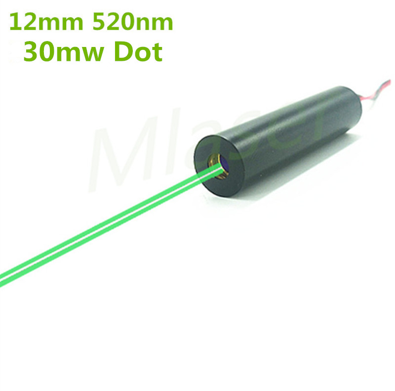 Low operating temperature 12mm 30mW 520nm  Green Laser Sight Diode Module Dot  Industrial Grade APC Driver 102 module green dot laser sight pressing switch controlled with mounts