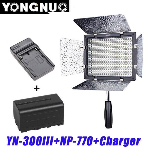 bilder für Yongnuo YN300 III YN-300 lIl 3200 karat-5500 Karat CRI95 Kamera Foto Led-videoleuchte mit 4200 mAh NP-F550 Akku mit Ladegerät set