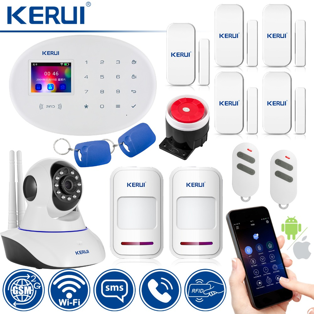 KERUI Wireless Home Alarm Security Protection IP Camera WIFI GSM Security Alarm System Sensor Burglar Alarm