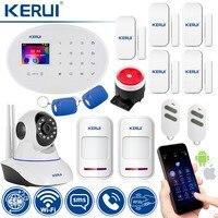 KERUI Беспроводной Главная охранной сигнализации защиты IP Камера WI FI + GSM безопасности сенсорная аварийная система охранной сигнальный детект