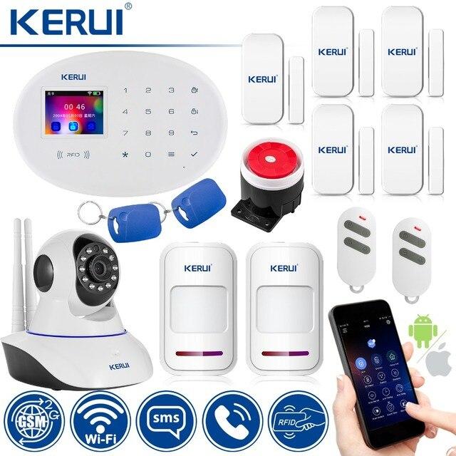 Special Price KERUI Wireless Home Alarm Security Protection IP Camera WIFI+GSM Security Alarm System Sensor Burglar Alarm Motion Detector