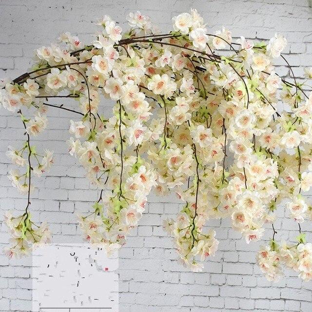 50PcsArtificial Cherry Blossom Branch Flower Wall Hanging Sakura ...