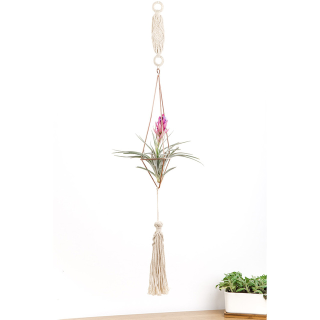 Us 12 99 Hanging Macrame Plant Hanger Air Plant Holder Geometric Himmeli Decoration Set For Hanging Tillandsia Plants With Chain In Flower Pots
