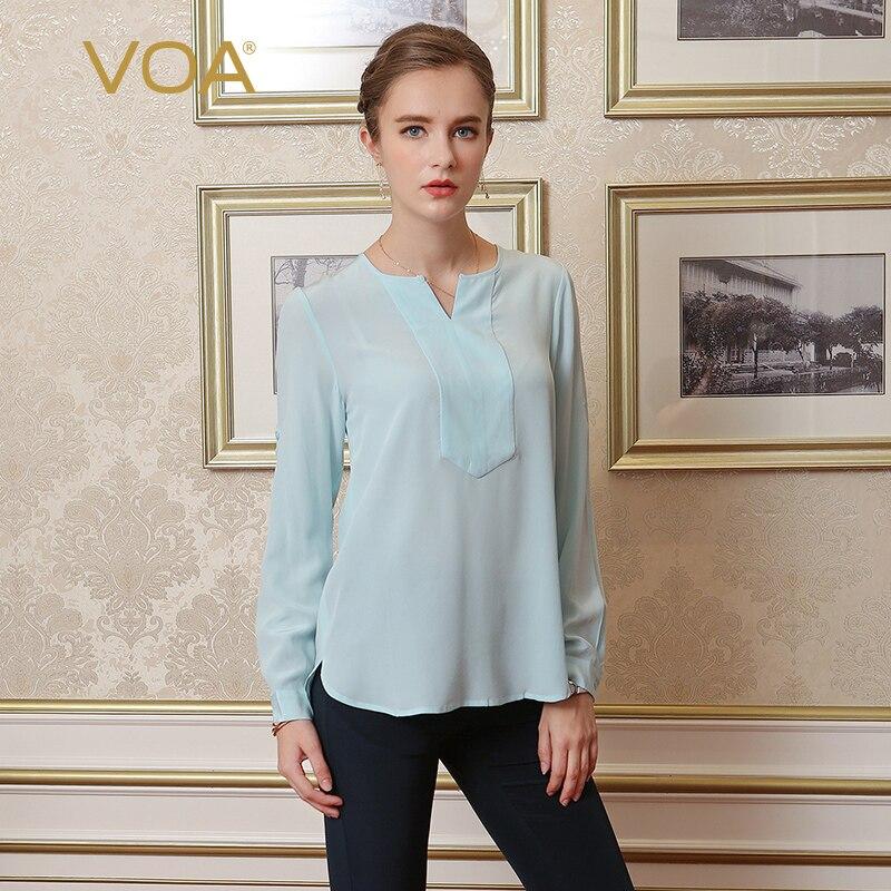 Camisas Mujer VOA soie décontracté chemisiers en mousseline de soie femmes manches longues col en v Roupas Feminina Vetement Femme hauts Femme B1023
