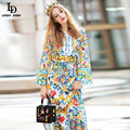 Runway Maxi Dress 2016 Women's Long Sleeve Belted Casual Slit Charming Floral Print Long Dress High Quality Maxi Long Dresses