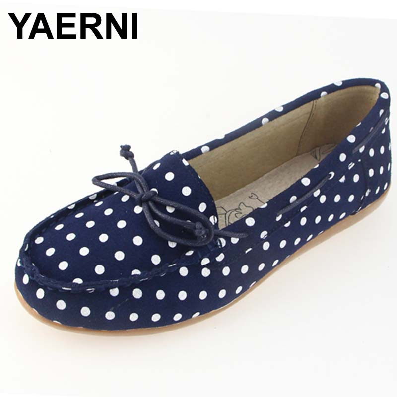 YAERNI Autumn women ballet basic flats shoes women slip on point style flats female   leather     suede   loafers moccasins shoes 001