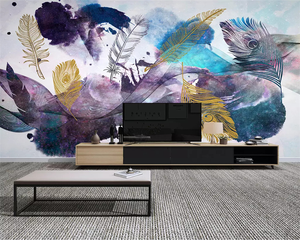 beibehang Modern classic three-dimensional wallpaper abstract ink line feather background wall decorative painting tapety