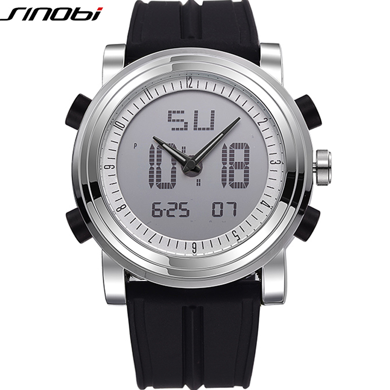 Digital Analog Dual Time Display Watches Silicone Wristwatch  #9368