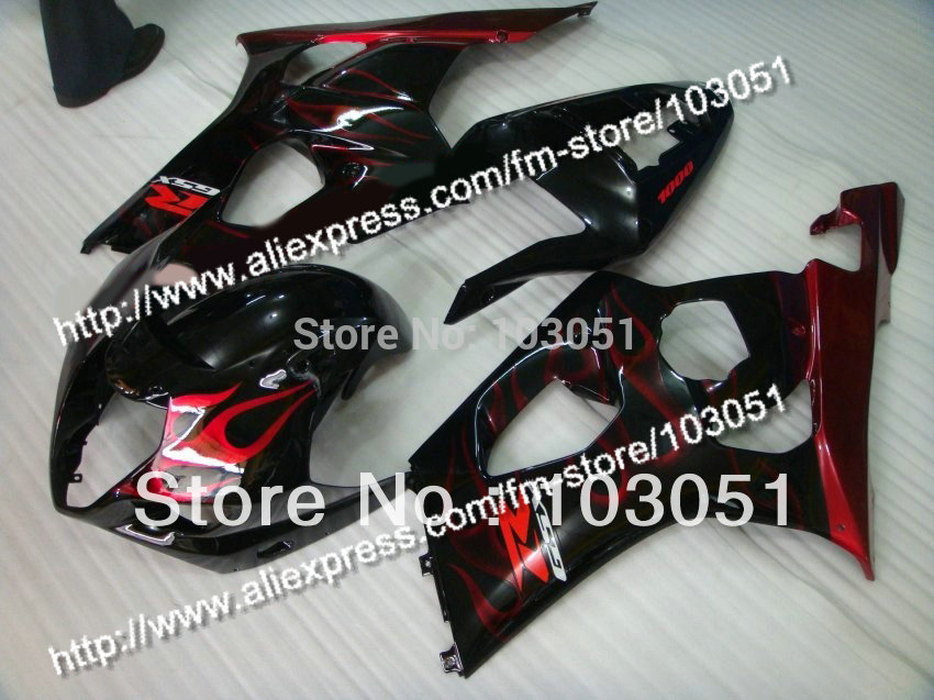 7 Gifts body kits for 2003 suzuki gsxr 1000 fairing K3 2004 GSXR 1000 fairings 03 04 red flame in glossy black DQ7 custom road fairing kits for suzuki glossy flat black 2006 gsxr 1000 k5 2005 gsx r1000 06 05 motorcycle fairings kit